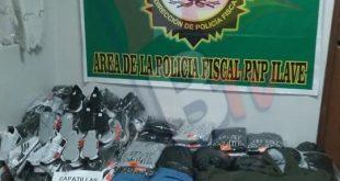 Ilave: PNP intervienen camión que transportaba zapatillas y prendas de vestir de marcas patentadas.